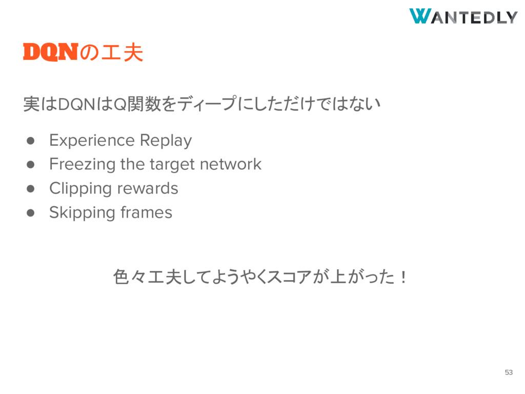 DQNの工夫 実はDQNはQ関数をディープにしただけではない ● Experience Rep...
