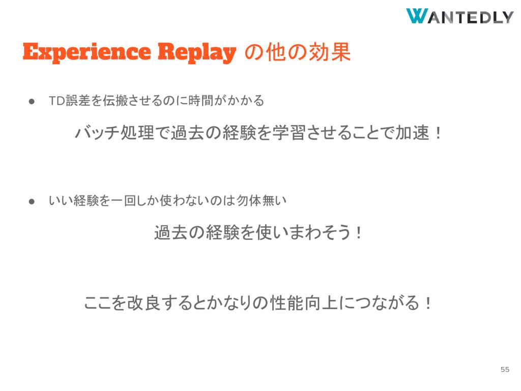 Experience Replay の他の効果 ● TD誤差を伝搬させるのに時間がかかる バッ...