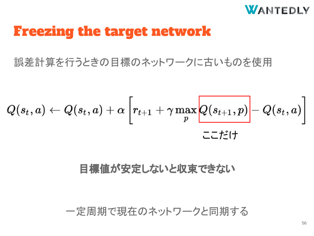Freezing the target network 誤差計算を行うときの目標のネットワーク...