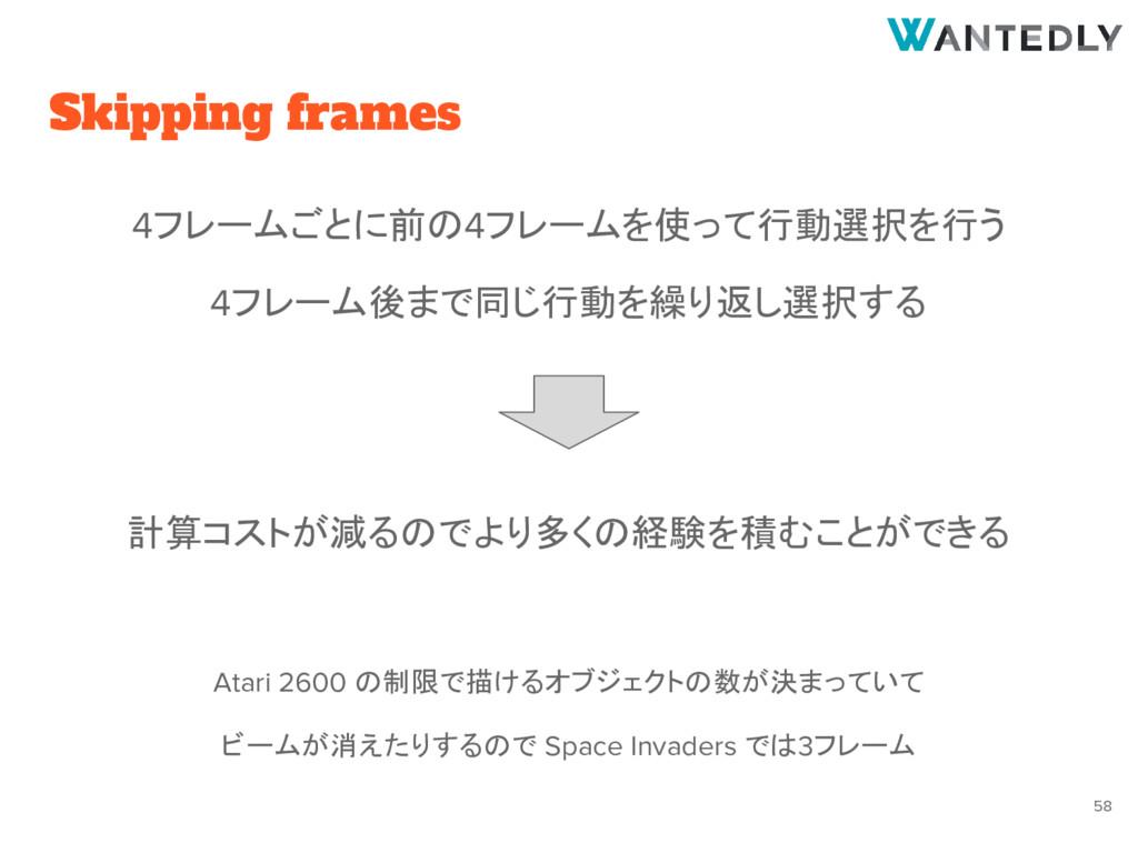 Skipping frames 4フレームごとに前の4フレームを使って行動選択を行う 4フレー...