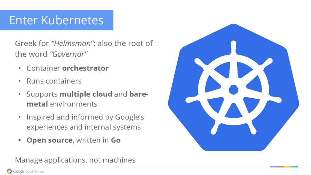 "Enter Kubernetes Greek for ""Helmsman""; also the..."