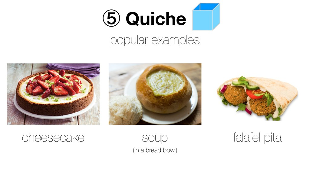 ᶇ Quiche popular examples soup cheesecake falaf...