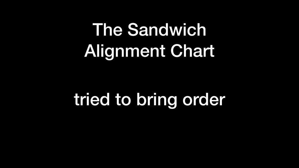 The Sandwich Alignment Chart tried to bring ord...