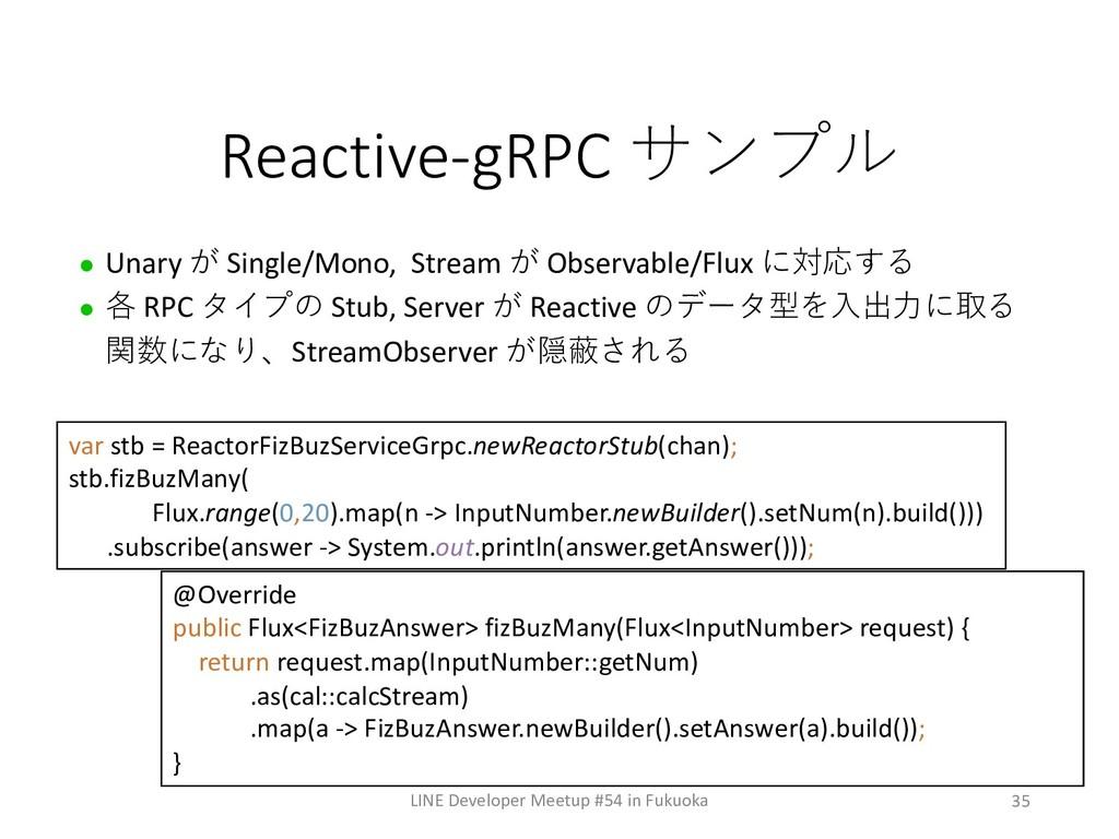 35 Reactive-gRPC  l Unary  Single/Mono, St...