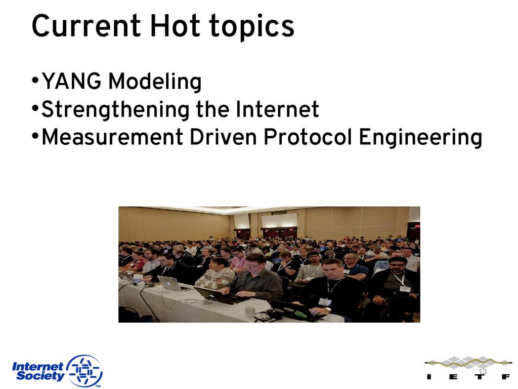 Current Hot topics •YANG Modeling •Strengthenin...