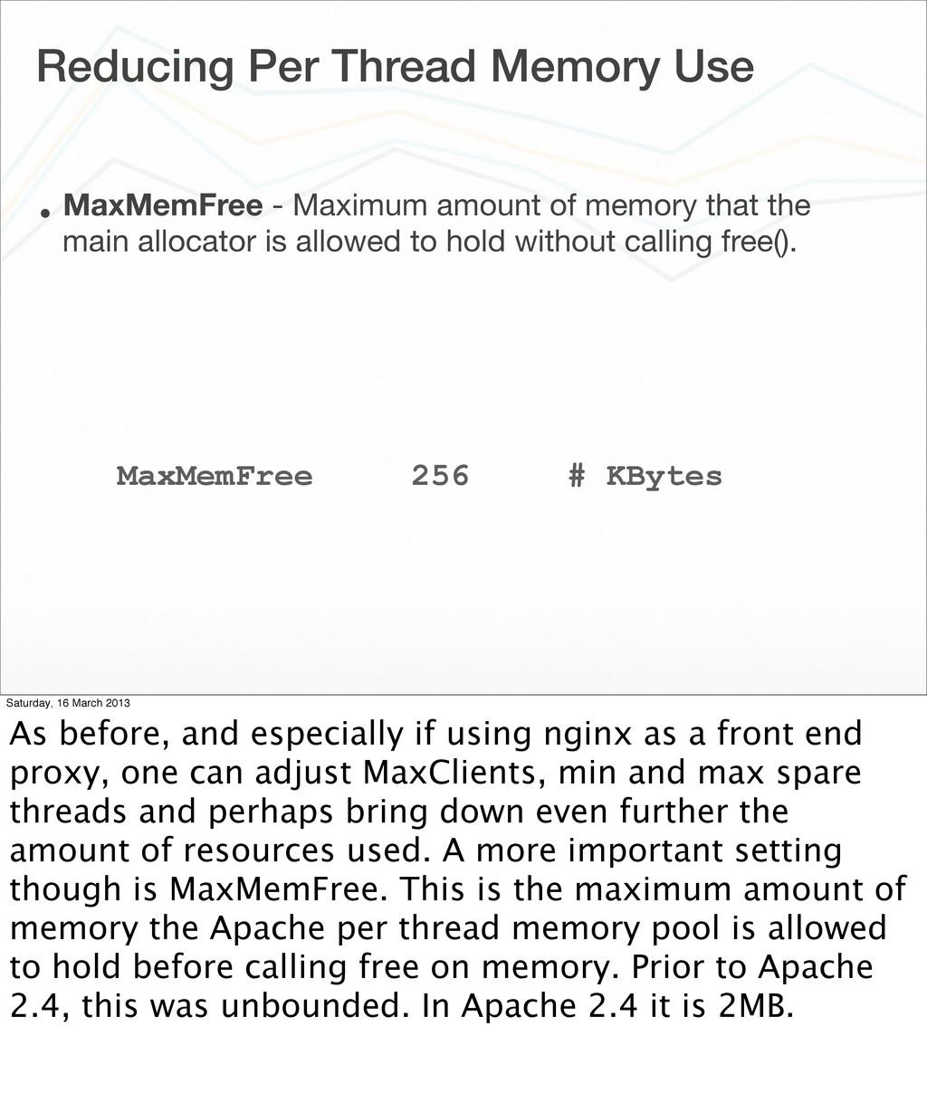 Reducing Per Thread Memory Use • MaxMemFree - M...
