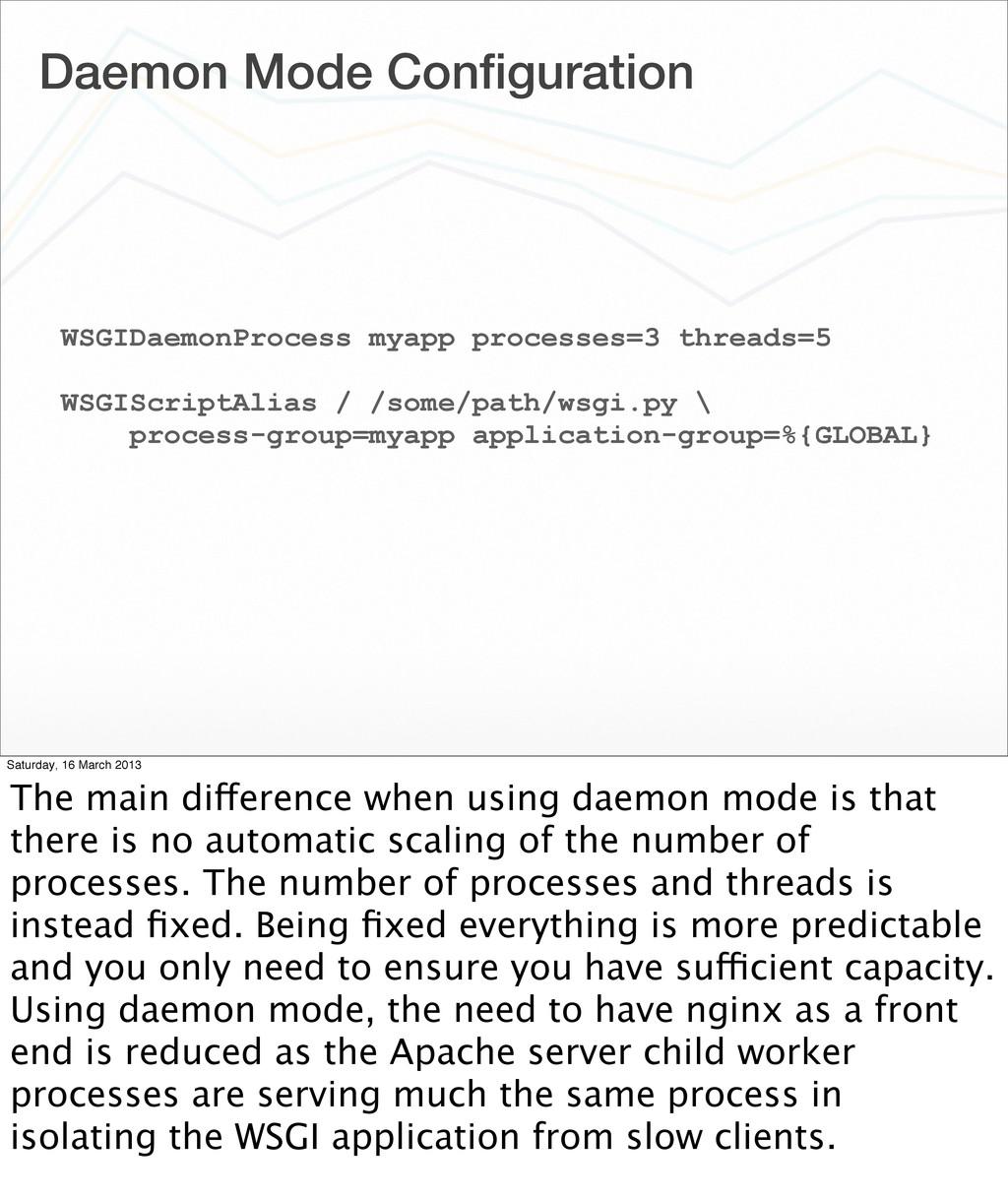 Daemon Mode Configuration WSGIDaemonProcess myap...