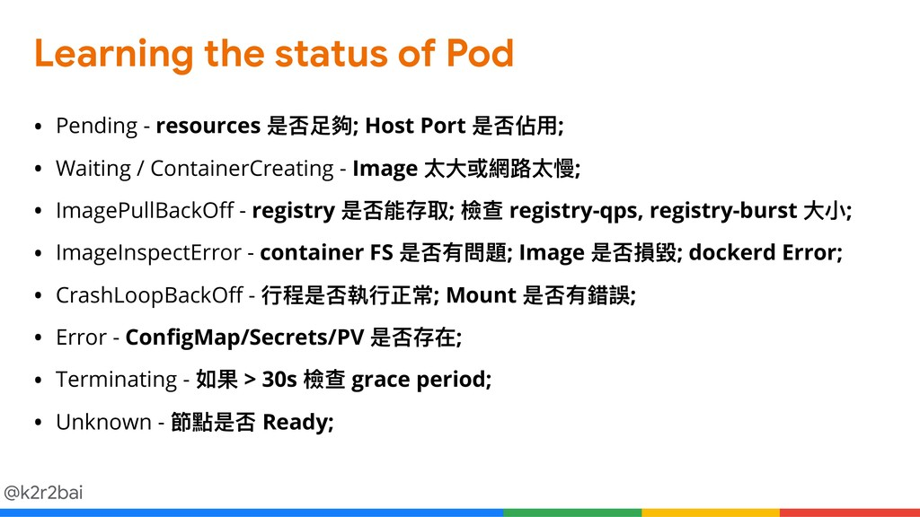 @k2r2bai Learning the status of Pod • Pending -...
