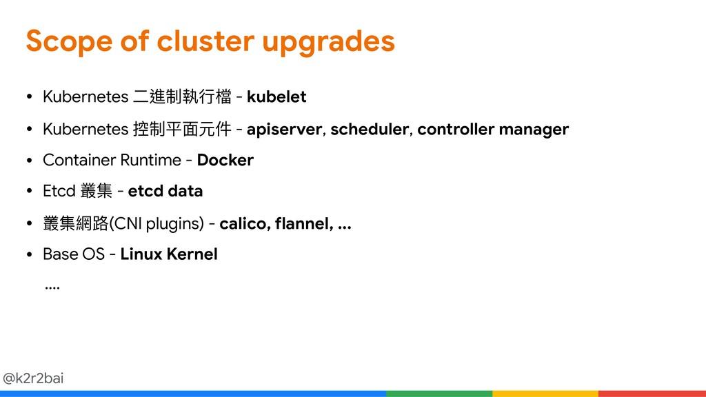 @k2r2bai Scope of cluster upgrades • Kubernetes...