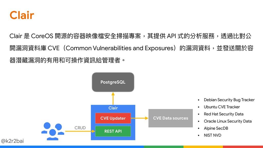@k2r2bai Clair Clair 是 CoreOS 開源的容器映像檔安全掃描專案,其提...