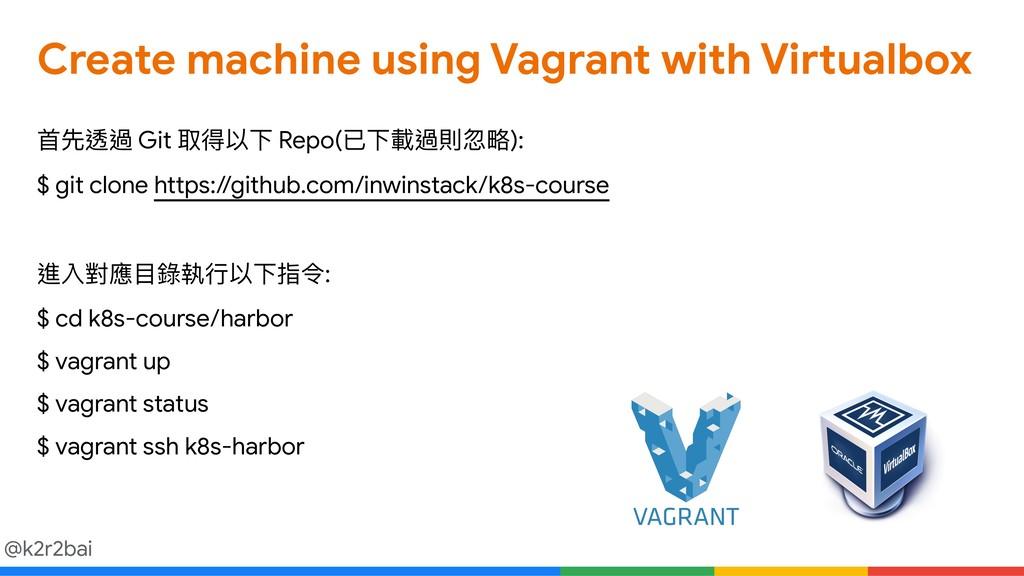 @k2r2bai Create machine using Vagrant with Virt...