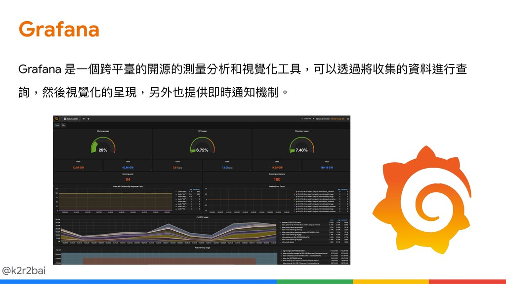 @k2r2bai Grafana 是⼀一個跨平臺的開源的測量量分析和視覺化⼯工具,可以透過將收...