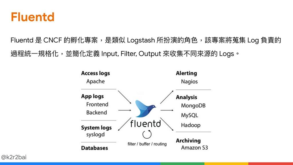 @k2r2bai Fluentd Fluentd 是 CNCF 的孵化專案,是類似 Logst...