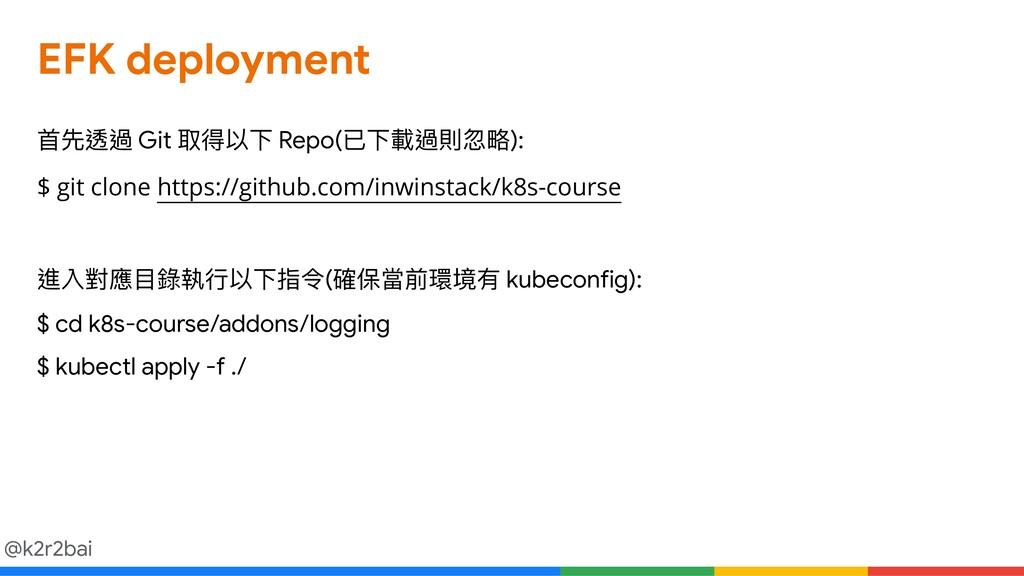 @k2r2bai EFK deployment ⾸首先透過 Git 取得以下 Repo(已下載...