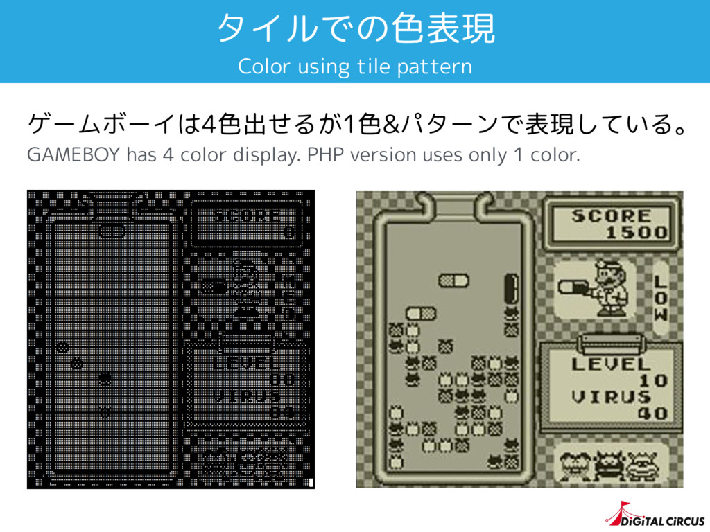 タイルでの色表現 ゲームボーイは4色出せるが1色&パターンで表現している。 GAMEBOY h...