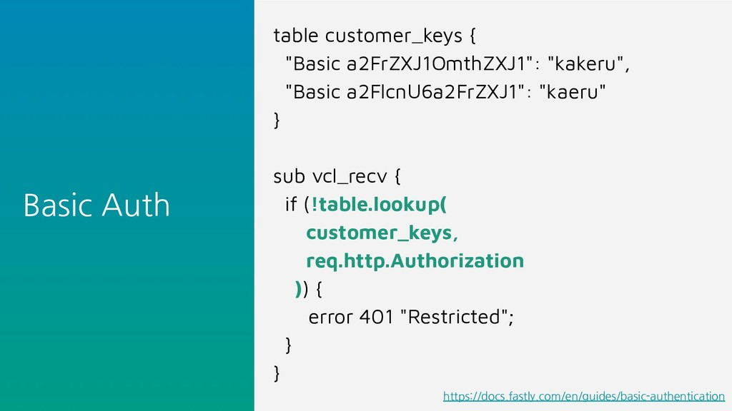 "Basic Auth table customer_keys { ""Basic a2FrZXJ..."
