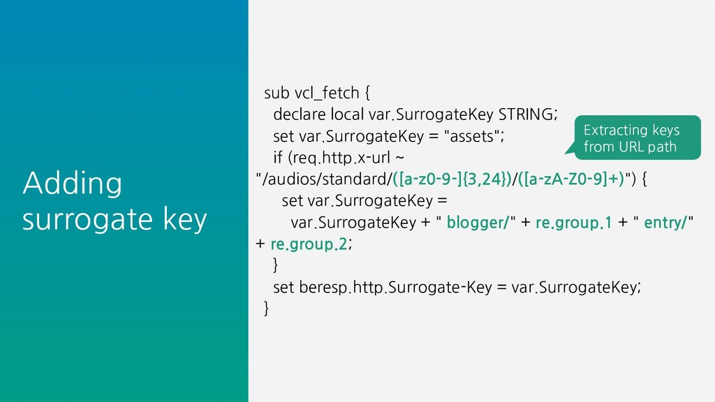 Adding surrogate key sub vcl_fetch { declare lo...