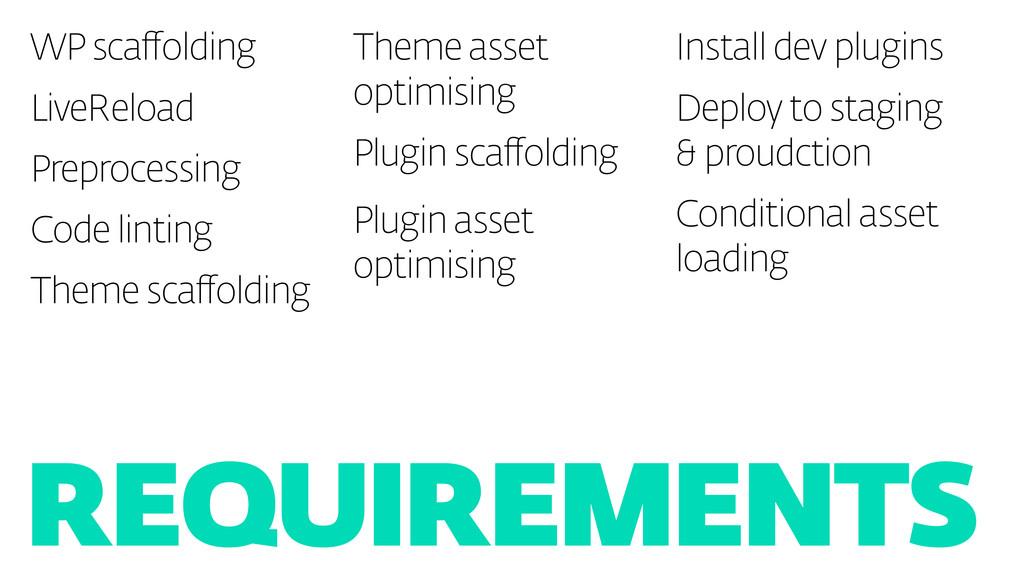 Requirements WP scaffolding LiveReload Preproce...