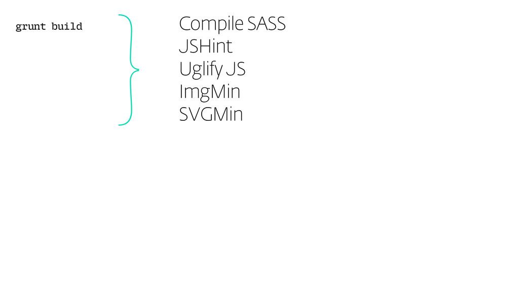 grunt build }Compile SASS JSHint Uglify JS ImgM...