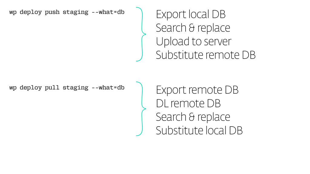 wp deploy push staging --what=db Export local D...