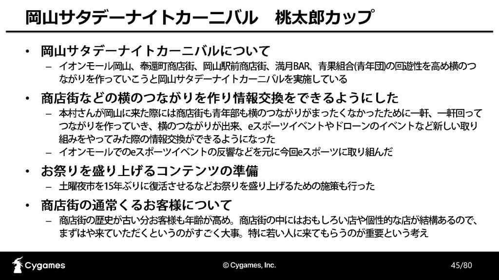45/80 岡山サタデーナイトカーニバル 桃太郎カップ • – • – – • – • –