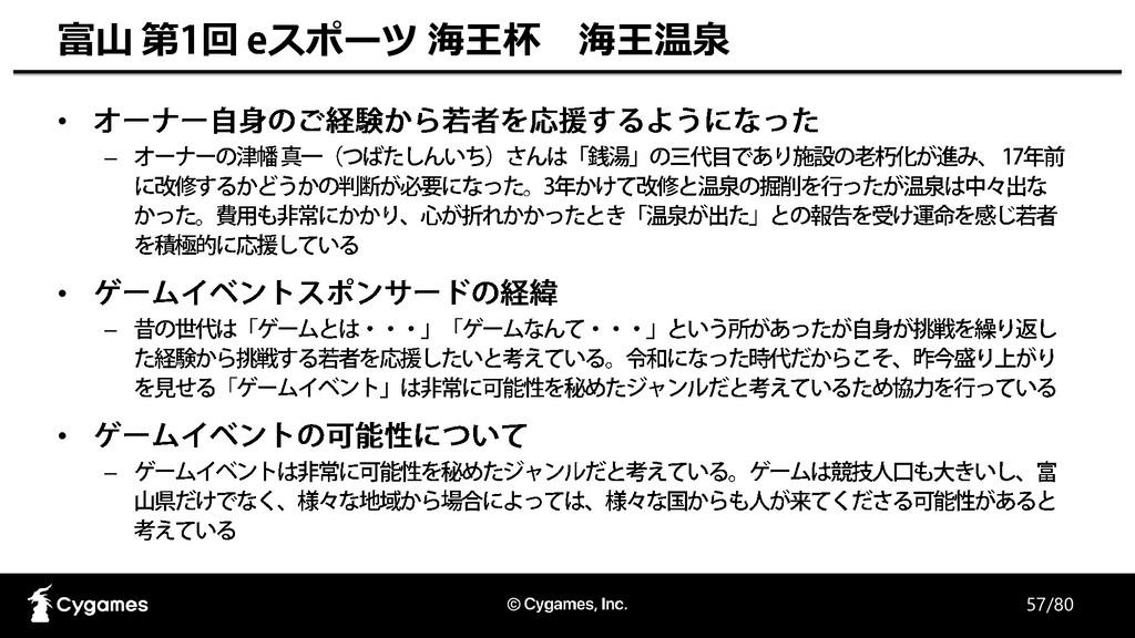 57/80 富山 第 回 スポーツ 海王杯 海王温泉 • – • – • –