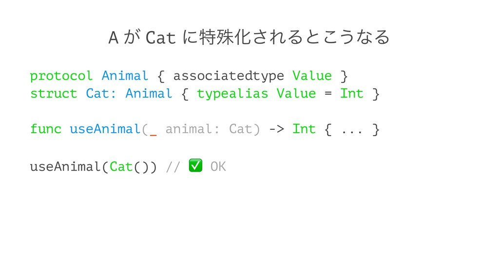 A ͕ Cat ʹಛघԽ͞ΕΔͱ͜͏ͳΔ protocol Animal { associat...