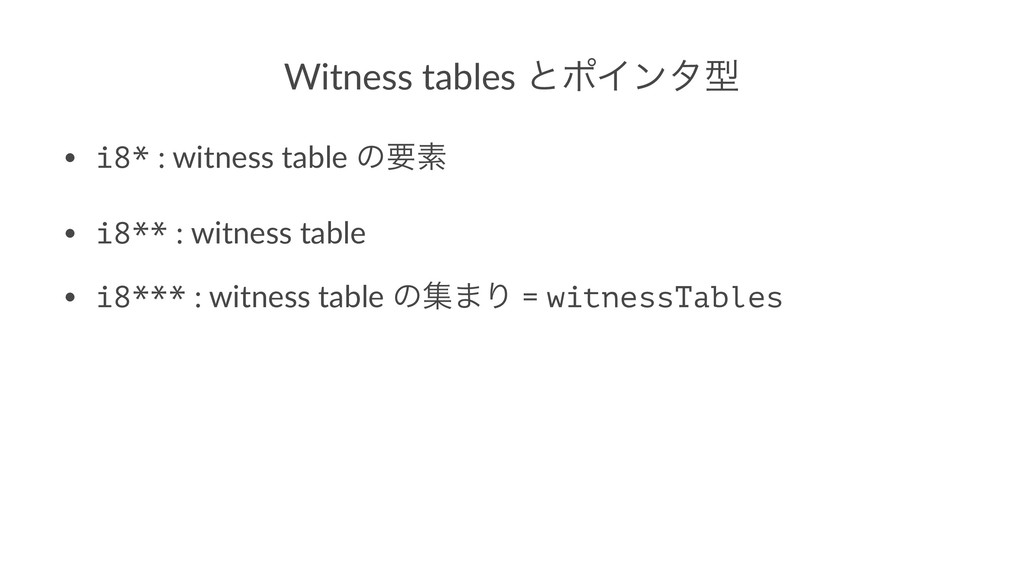 Witness tables ͱϙΠϯλܕ • i8* : witness table ͷཁૉ...