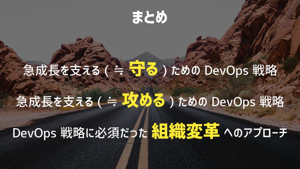 まとめ 急成長を支える ( ≒ 守る ) ための DevOps 戦略 急成長を支える ( ≒ ...