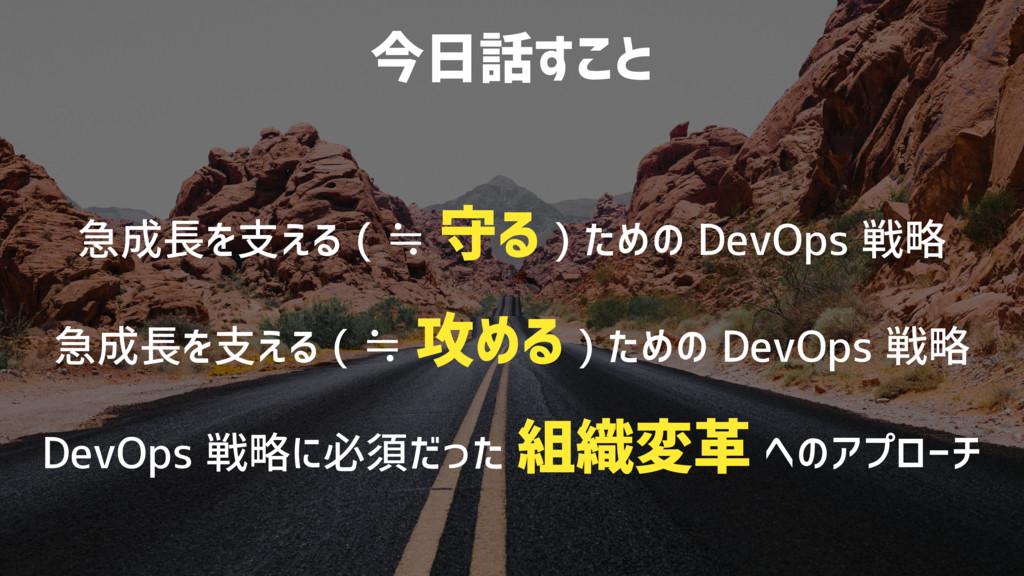 今日話すこと 急成長を支える ( ≒ 守る ) ための DevOps 戦略 急成長を支える (...