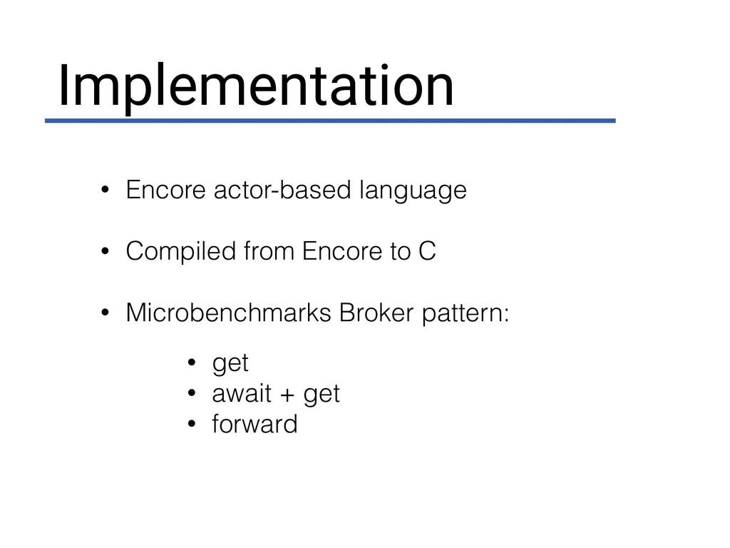 Implementation • Encore actor-based language • ...