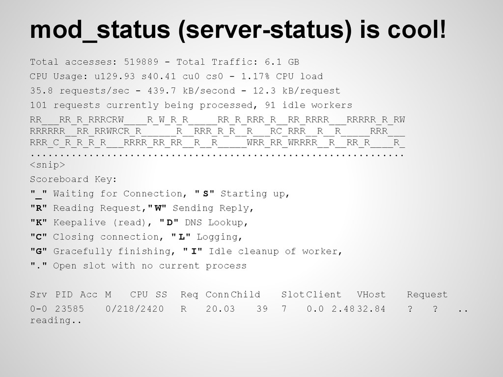 mod_status (server-status) is cool! Total acces...