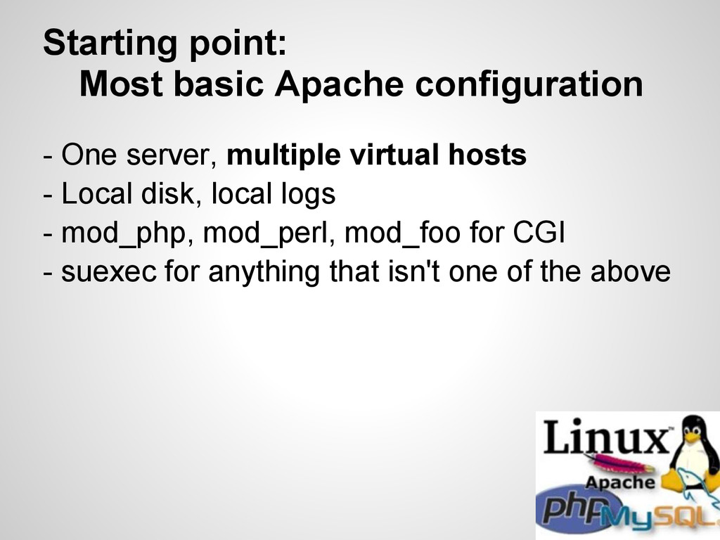 Starting point: Most basic Apache configuration...
