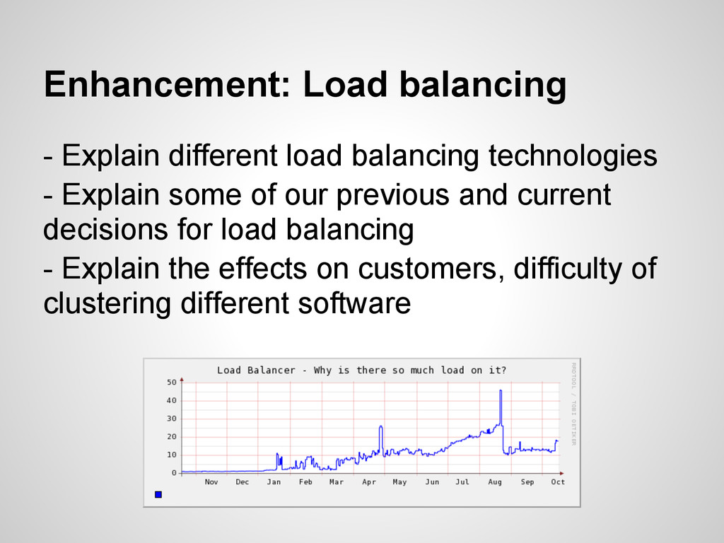 Enhancement: Load balancing - Explain different...