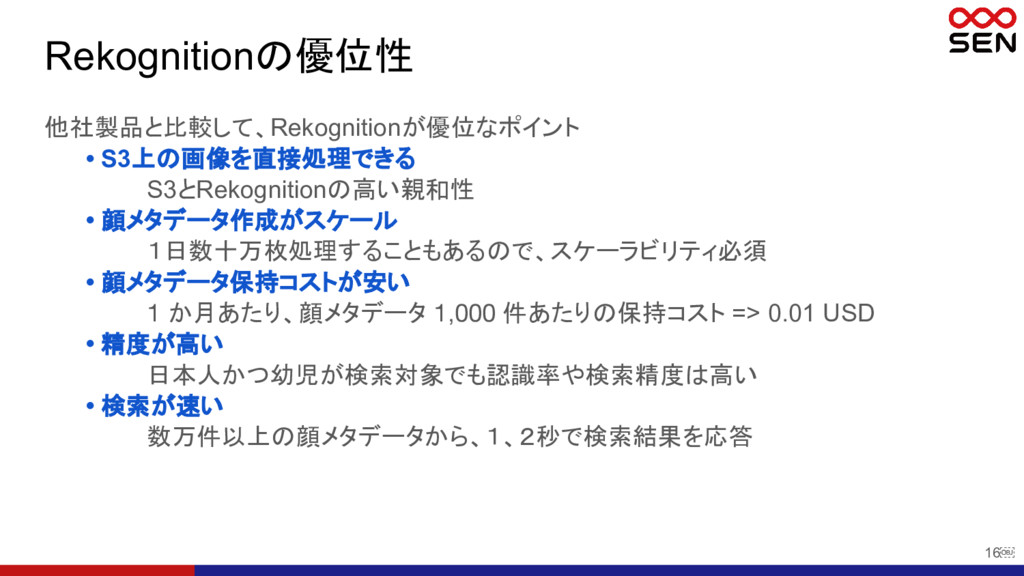 16 Rekognitionの優位性 他社製品と比較して、Rekognitionが優位なポイ...