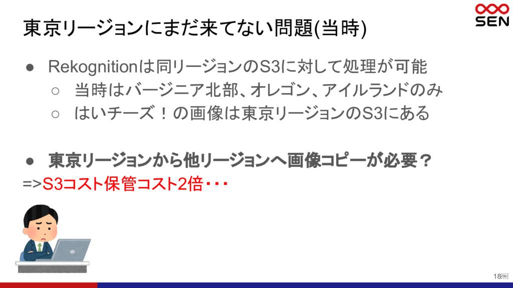 18 東京リージョンにまだ来てない問題(当時) ● Rekognitionは同リージョンのS...