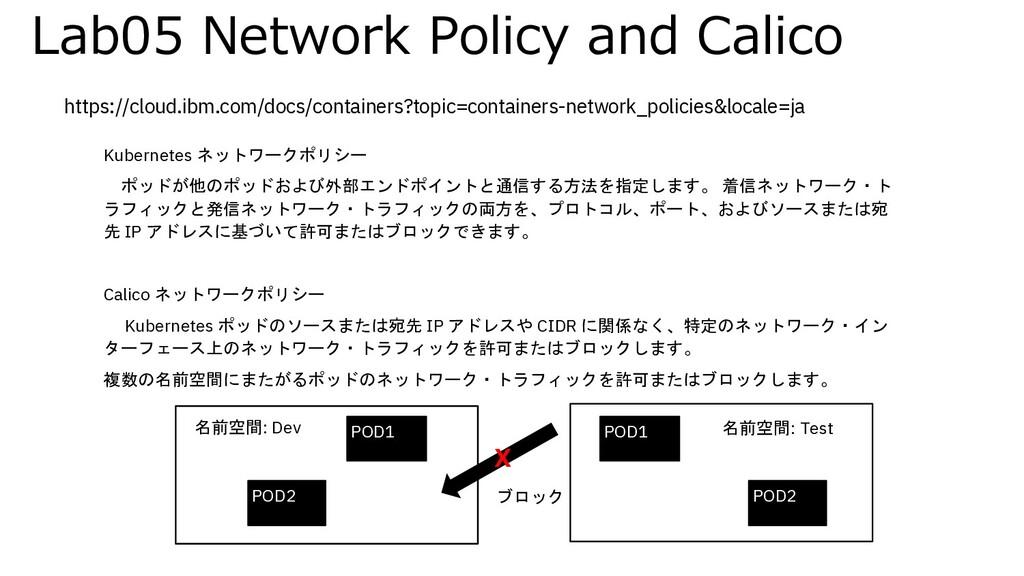 Lab05 Network Policy and Calico Kubernetes ネットワ...