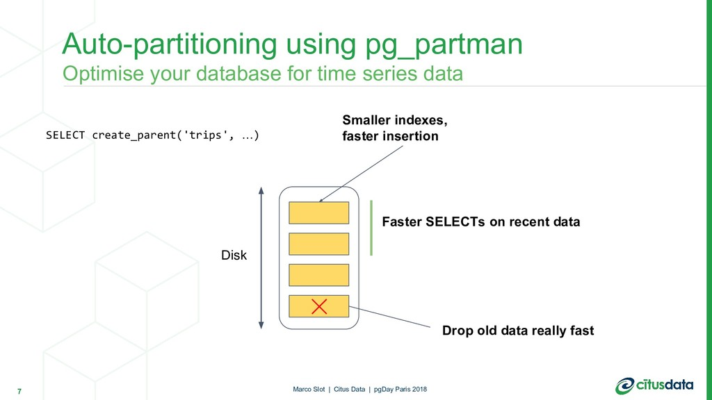 Auto-partitioning using pg_partman 7 Disk Drop ...