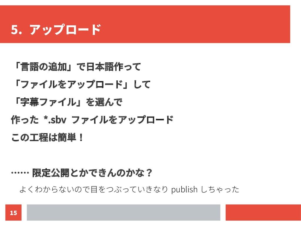 15 5. アップロード 「言語の追加」で日本語作って 「ファイルをアップロード」して 「字幕...