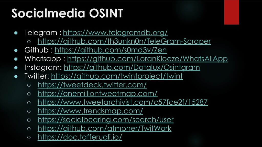 Socialmedia OSINT ● Telegram : https://www.tele...