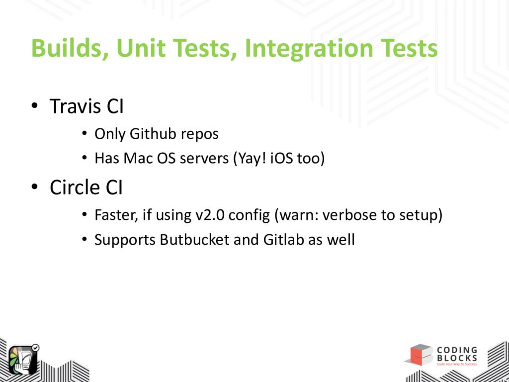 Builds, Unit Tests, Integration Tests • Travis ...