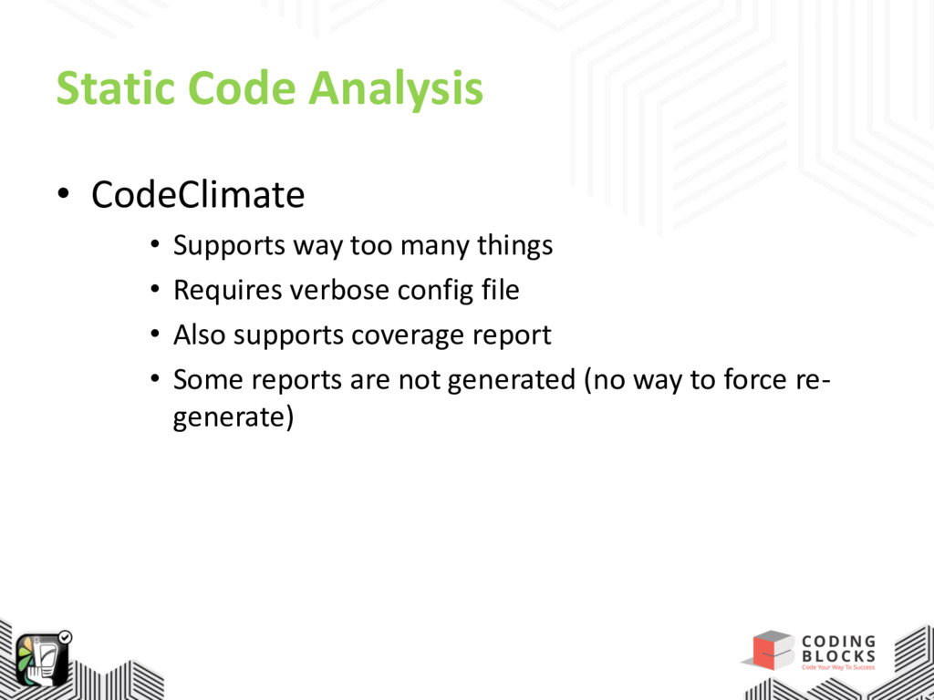 Static Code Analysis • CodeClimate • Supports w...
