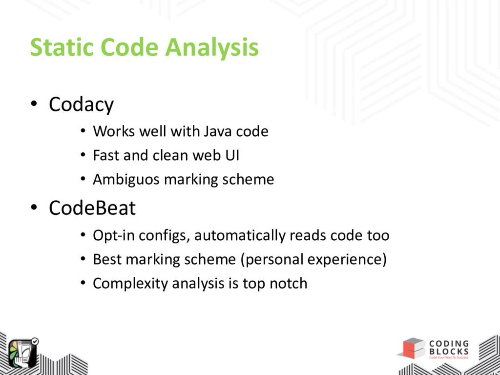 Static Code Analysis • Codacy • Works well with...