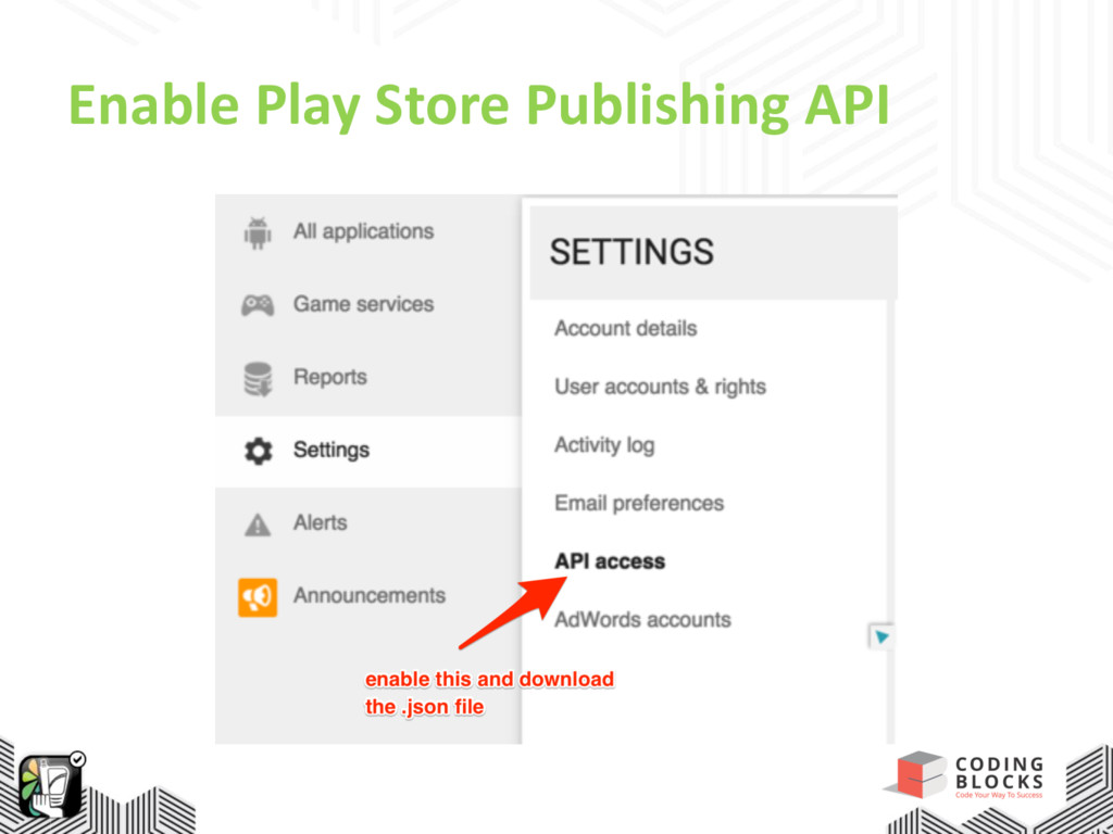 Enable Play Store Publishing API