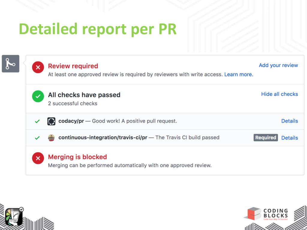 Detailed report per PR