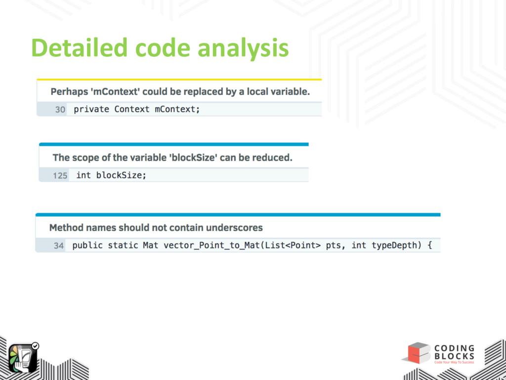 Detailed code analysis