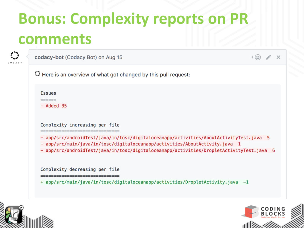 Bonus: Complexity reports on PR comments