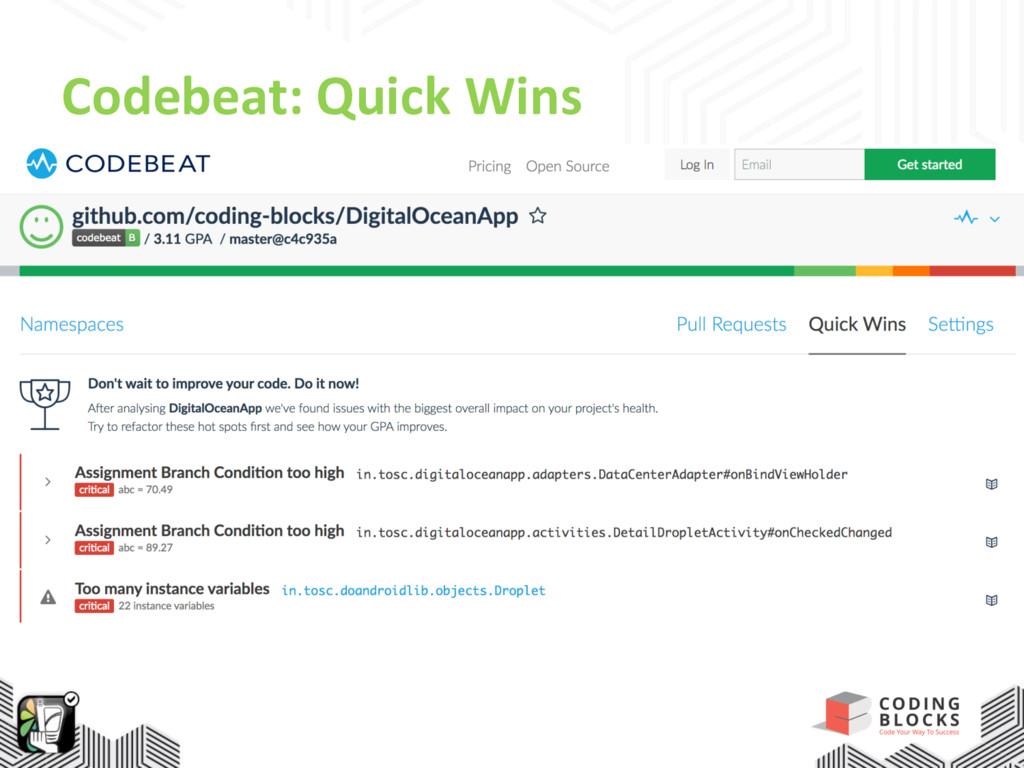 Codebeat: Quick Wins