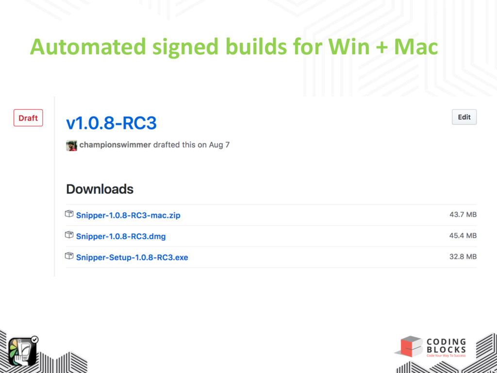 Automated signed builds for Win + Mac