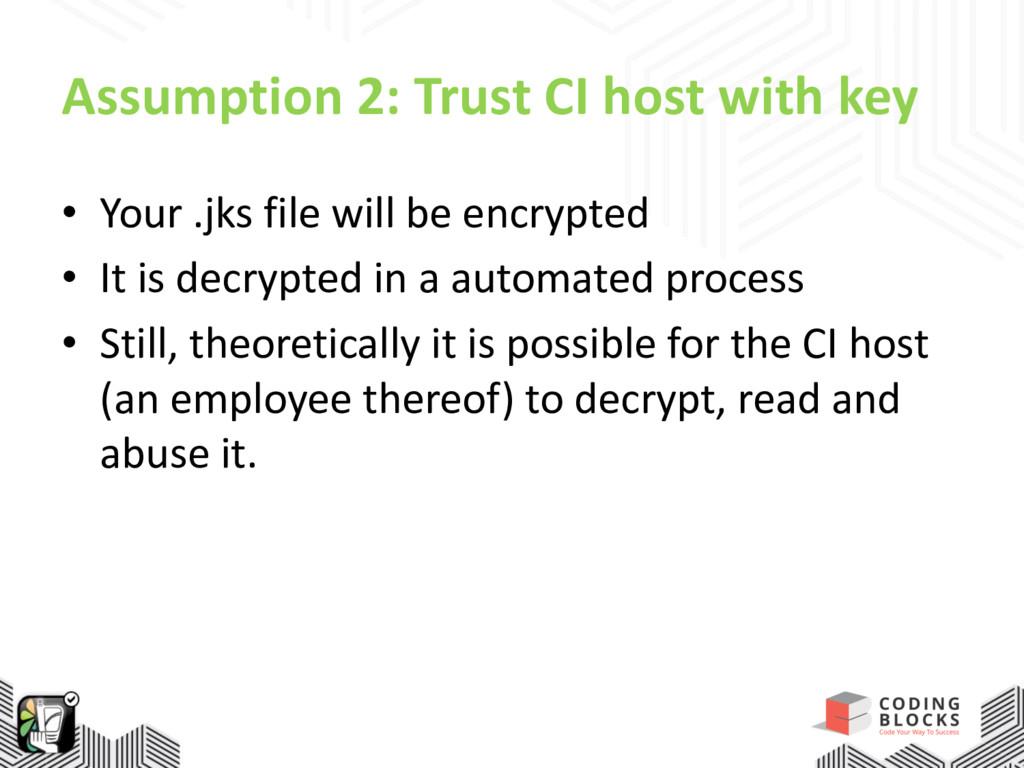 Assumption 2: Trust CI host with key • Your .jk...